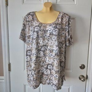 WHITE STAG Flower Print Top Sweater Sz 4X Cute!